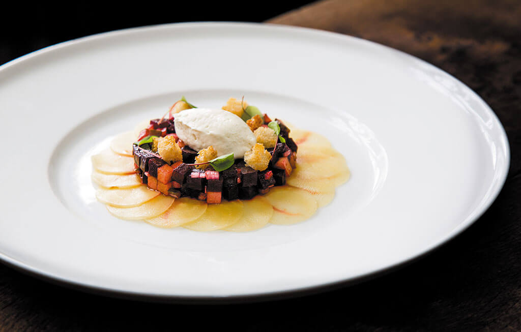 Spring dish, beetroot recipe, peacock rowsley, rob bannister photography,