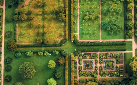 Hardwick Hall gardens drone photograph by Phil Nicholls